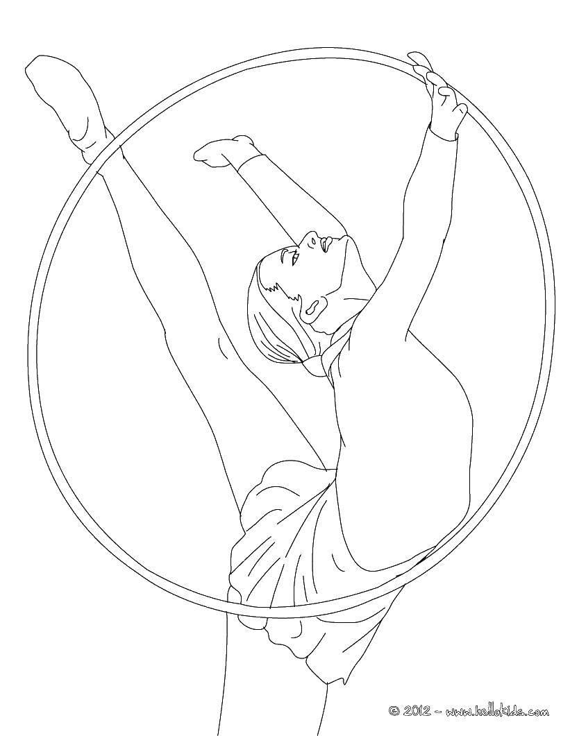 Раскраска Гимнастка с обручем Скачать спорт, гимнастика, гимнастка, обруч.  Распечатать ,гимнастика,