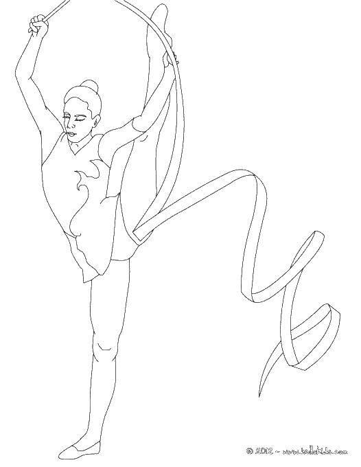 Раскраска Гимнастка упражняется с лентой Скачать спорт, гимнастика, гимнастка, лента.  Распечатать ,гимнастика,