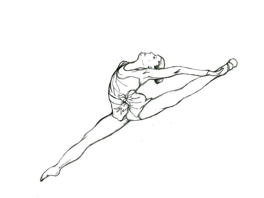 Раскраска Гимнастка в полете Скачать гимнастка, гимнастика.  Распечатать ,гимнастика,