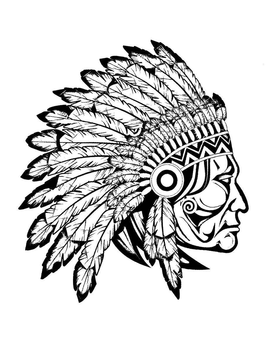 Раскраска Индеец в перьях Скачать индейцы, перья, народы.  Распечатать ,индейцы,