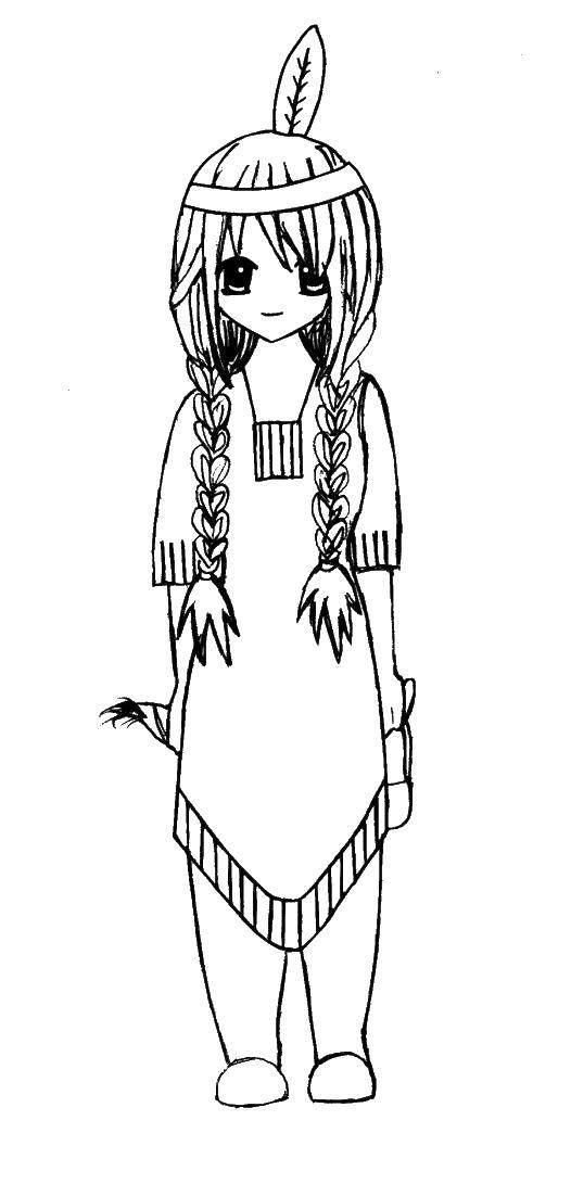 Раскраска Индейская девушка Скачать Индеец.  Распечатать ,индейцы,