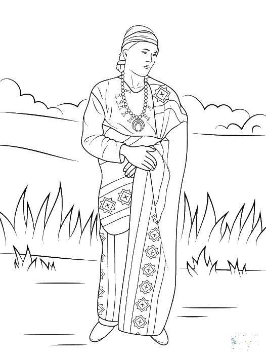 Раскраска Индейская женщина Скачать Индеец.  Распечатать ,индейцы,