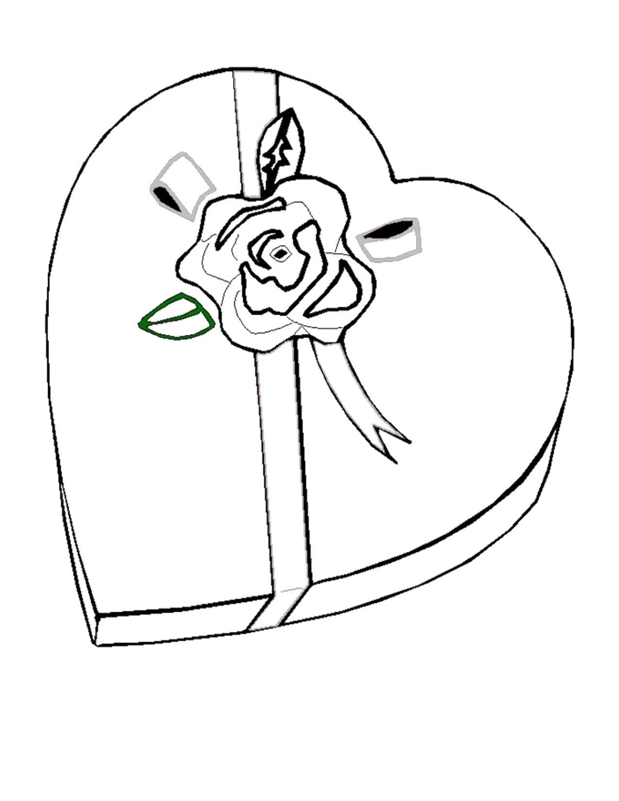 Раскраска Коробка с бантом. Скачать день святого Валентина, сердечко, коробка.  Распечатать ,День святого валентина,