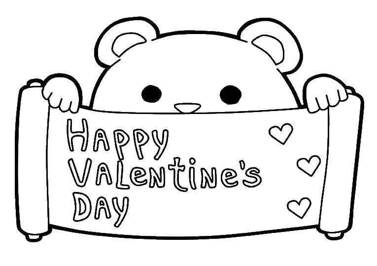Раскраска Мишка с надписью день святого валентина Скачать День святого валентина, мишка.  Распечатать ,День святого валентина,
