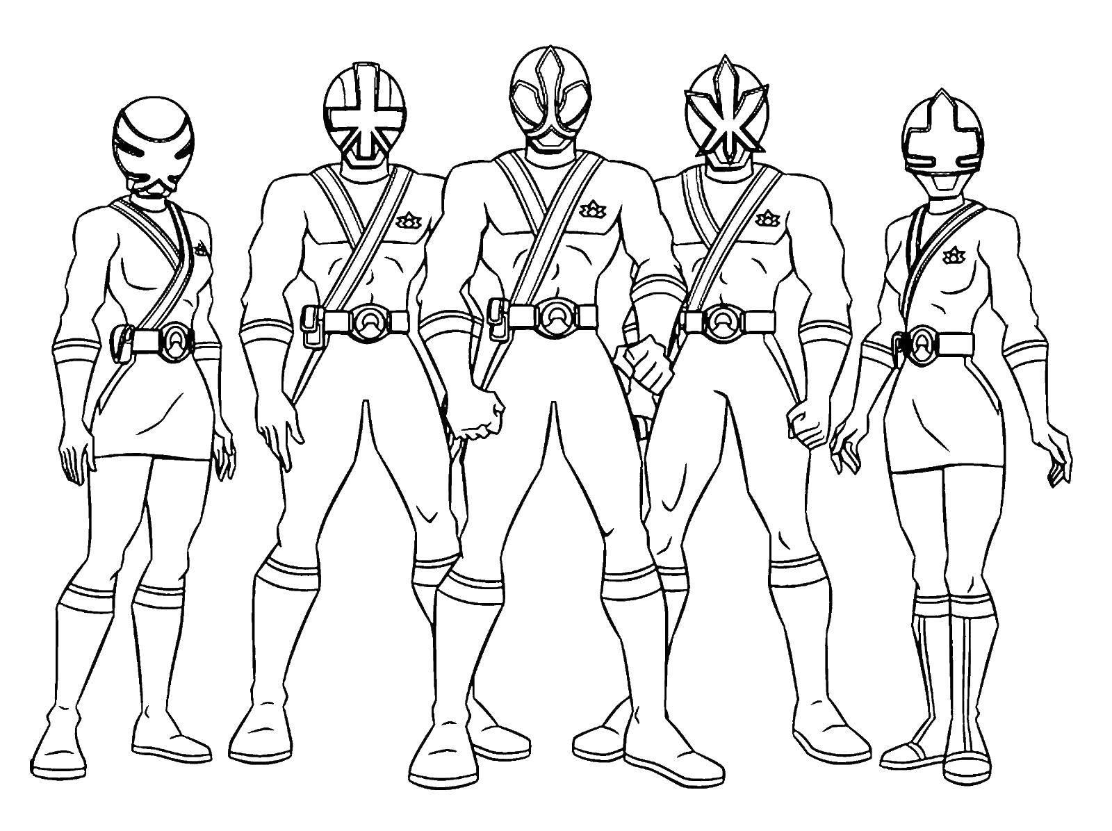 Раскраска Могучие рейнджеры: самураи Скачать ,Могучие Рейнджеры, Самураи,.  Распечатать
