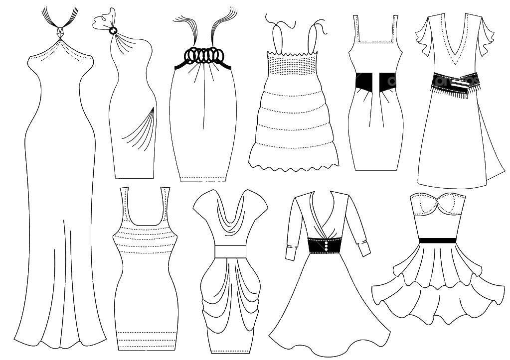 Раскраска Разные платья Скачать платья, гардероб.  Распечатать ,Платья,