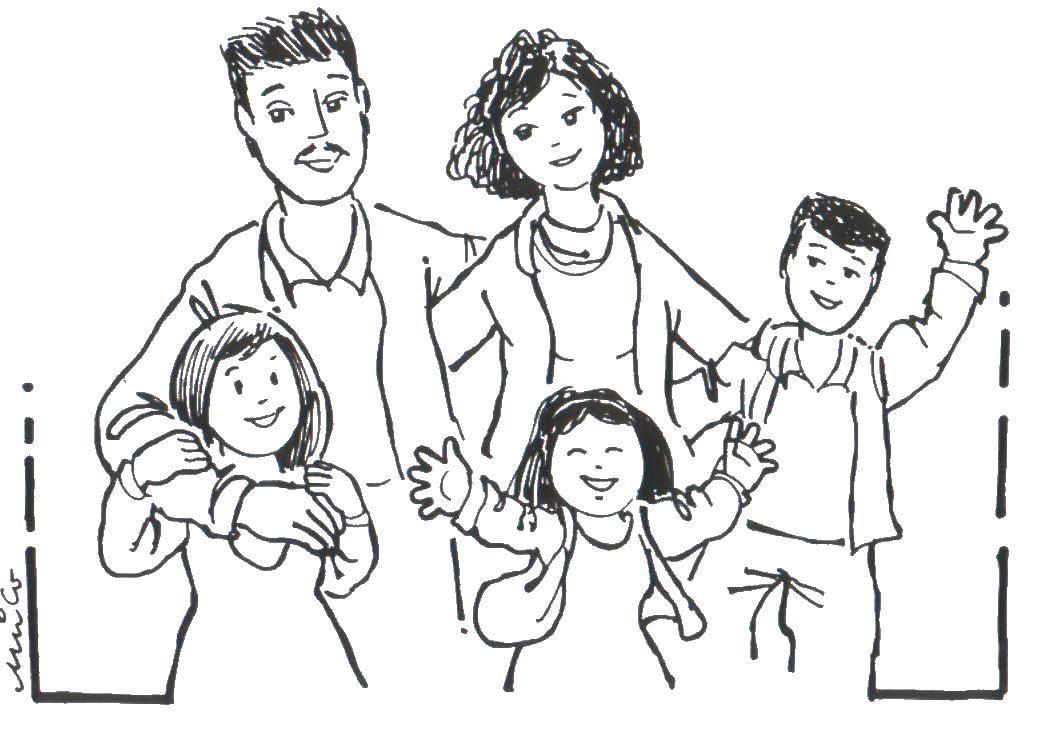 Раскраска Родители с детьми Скачать большая семья, семьи, дети.  Распечатать ,Семья,
