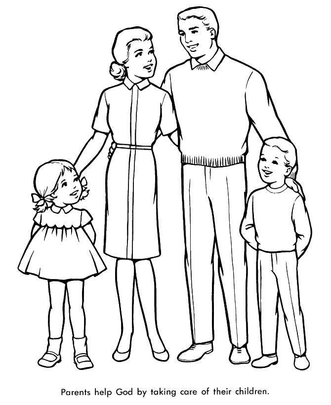 Раскраска Родители с детьми Скачать семьи, дети, родители.  Распечатать ,Семья,