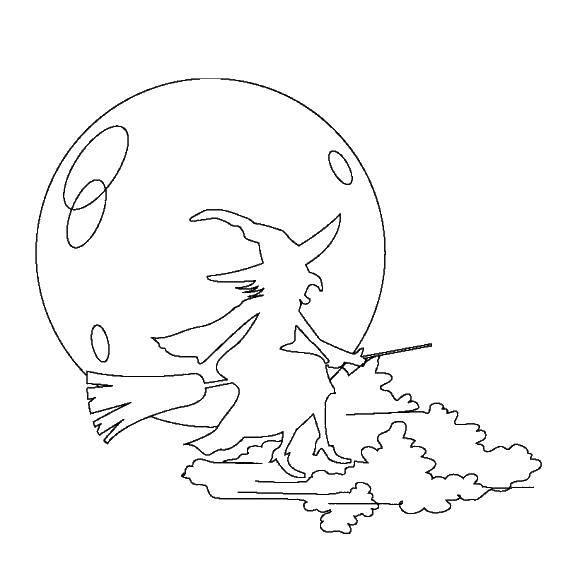 Раскраска Силуэт ведьмы. Скачать Хэллоуин, ведьма, ночь, метла.  Распечатать ,ведьма,