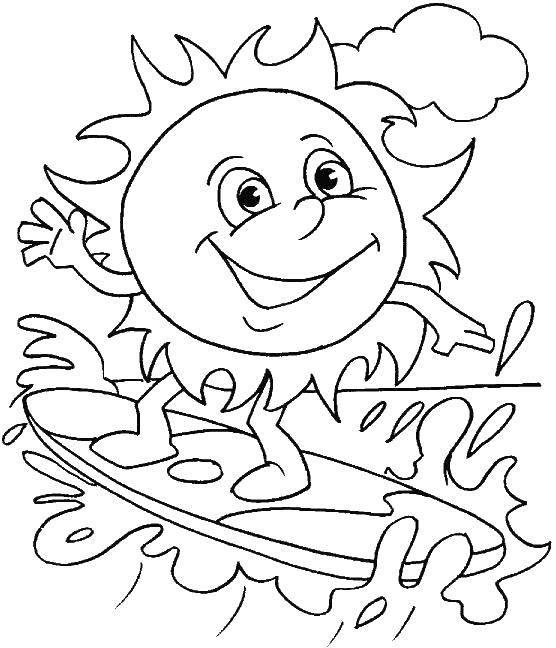 Раскраска Летние развлечения Скачать Персонаж из мультфильма, Спанч Боб, Губка Боб, Патрик.  Распечатать ,Спанч Боб,