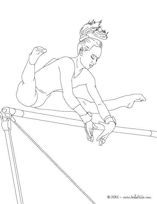 Раскраска Упражнения гимнастки Скачать спорт, гимнастика, гимнастка.  Распечатать ,гимнастика,