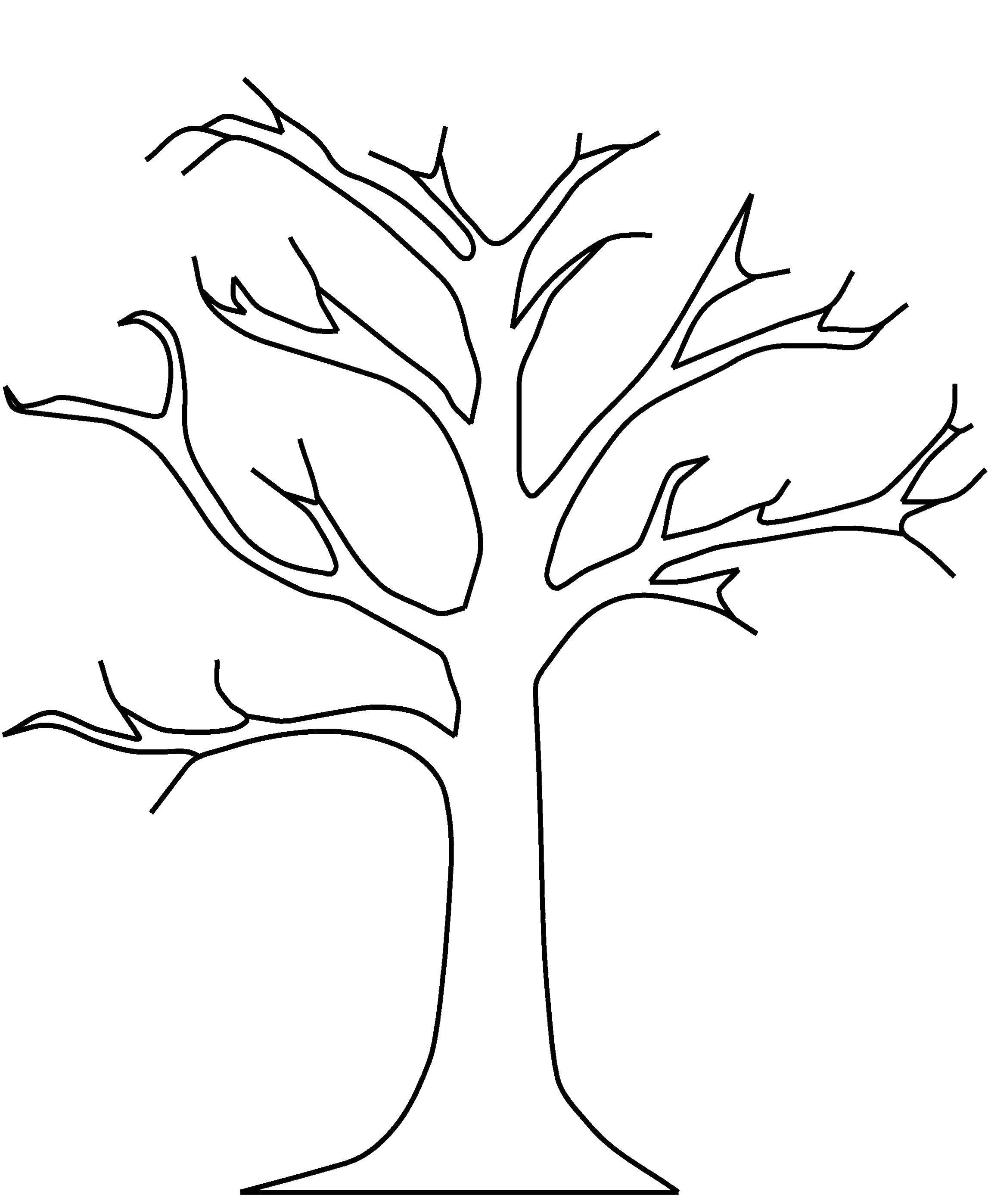 Раскраска дерево Скачать ,деревья, ветки, ствол,.  Распечатать