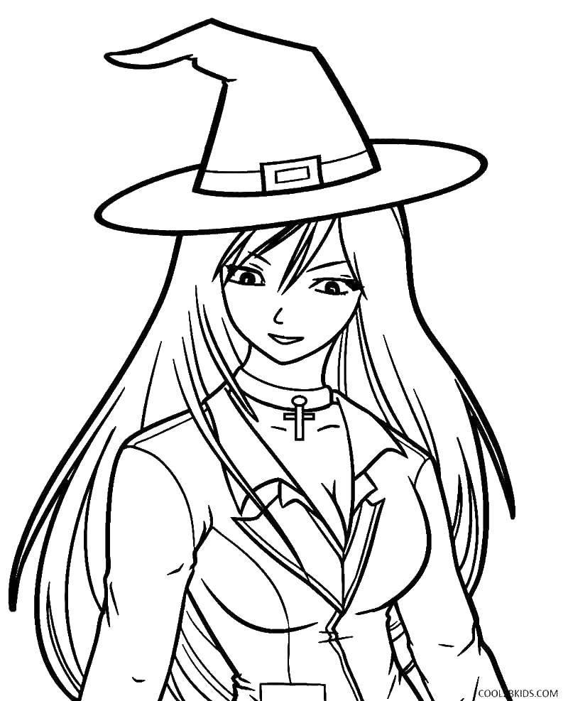 Раскраска ведьма Скачать ,Хэллоуин, ведьма,.  Распечатать