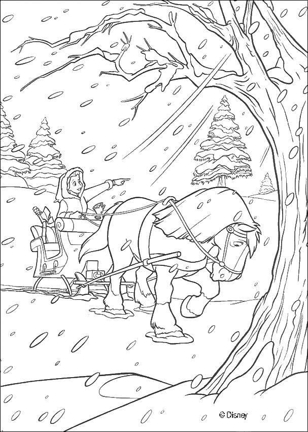 Раскраска Бэлль зимой на санях Скачать ,Красавица и Чудовище, Дисней,.  Распечатать