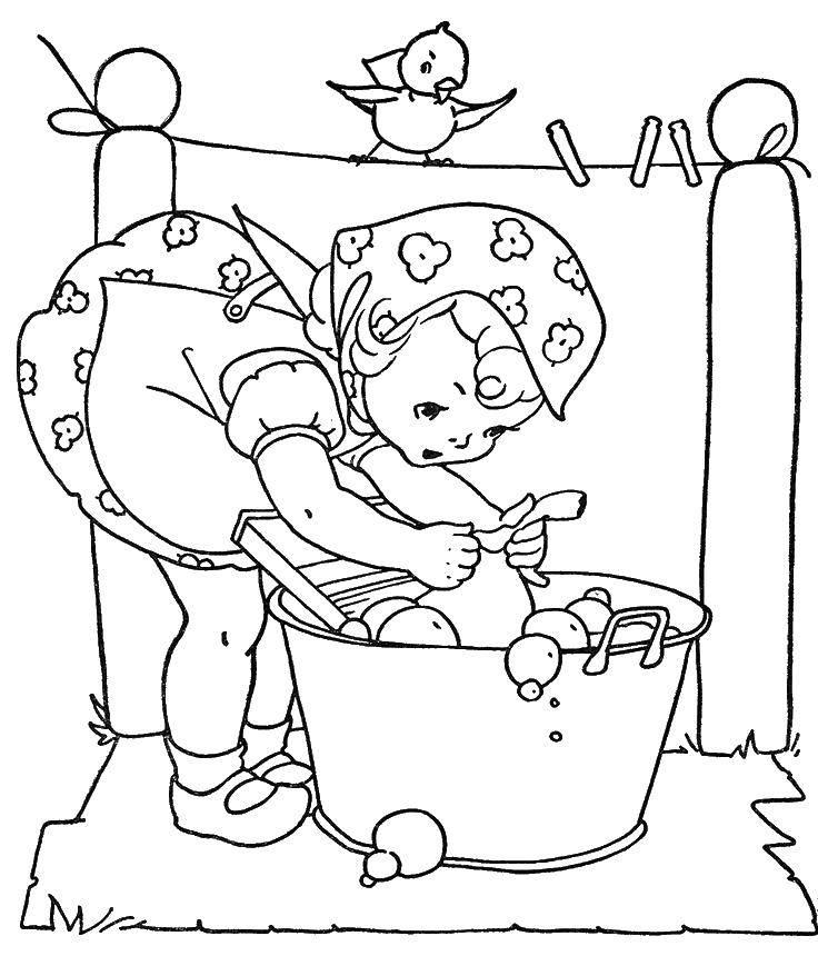 Раскраска Девочка стирает вещи Скачать стирка, девочка, чистота.  Распечатать ,Стирка,