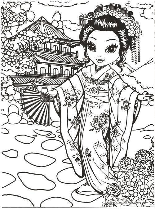 Раскраска Гейша в кимоно Скачать Народы мира.  Распечатать ,народы мира,
