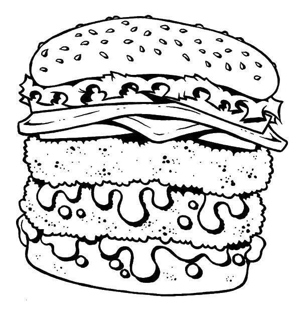 Раскраска Гигантский бургер. Скачать еда.  Распечатать ,Гамбургер,