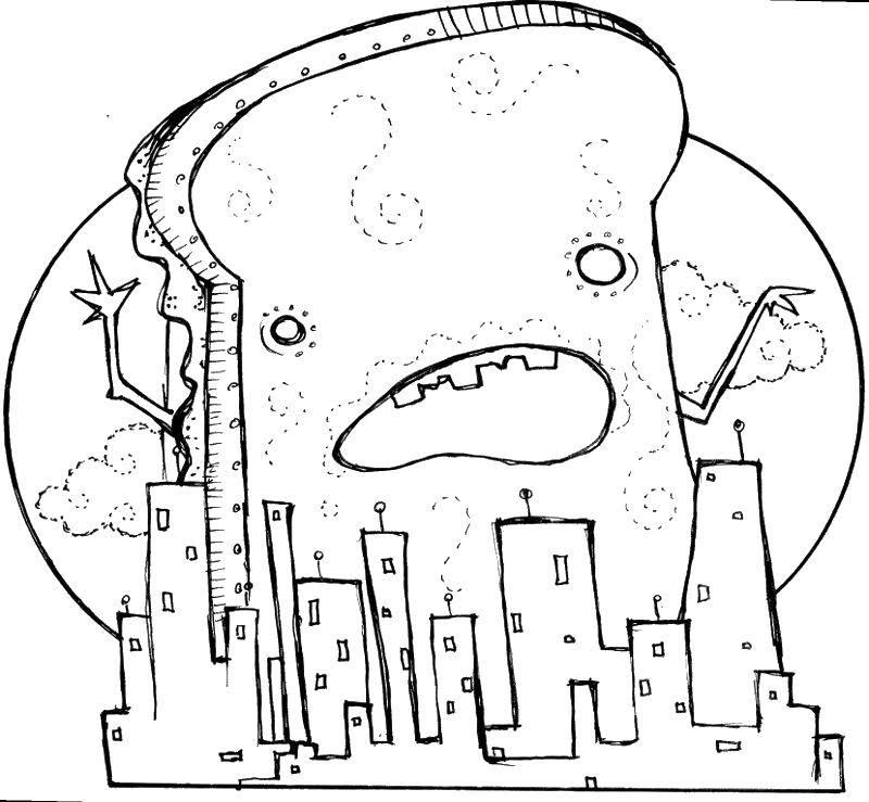 Раскраска Гигантский зуб напал на город. Скачать Уход за зубами.  Распечатать ,Уход за зубами,