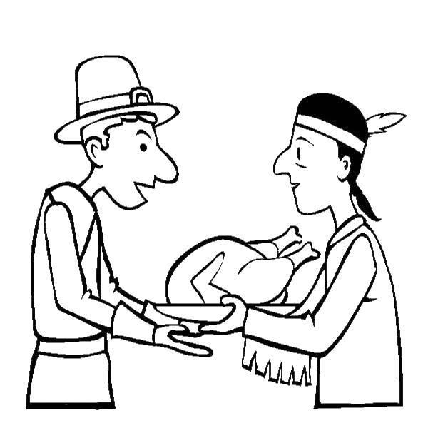 Раскраска Индеец и англичанин Скачать индейцы, англичане, день благодарения.  Распечатать ,Индейцы,