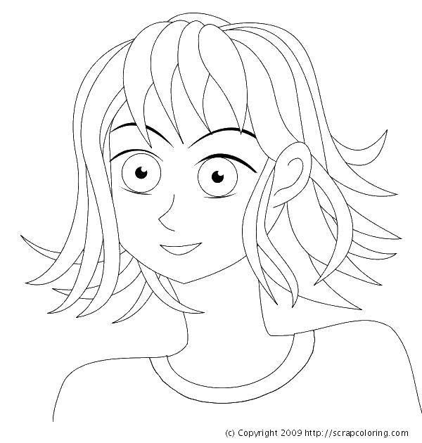 Раскраска Короткие волосы Скачать Прически.  Распечатать ,прически,