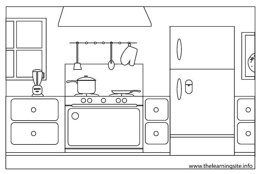 Раскраска Красивая кухня Скачать Кухня, дом, еда.  Распечатать ,Кухня,