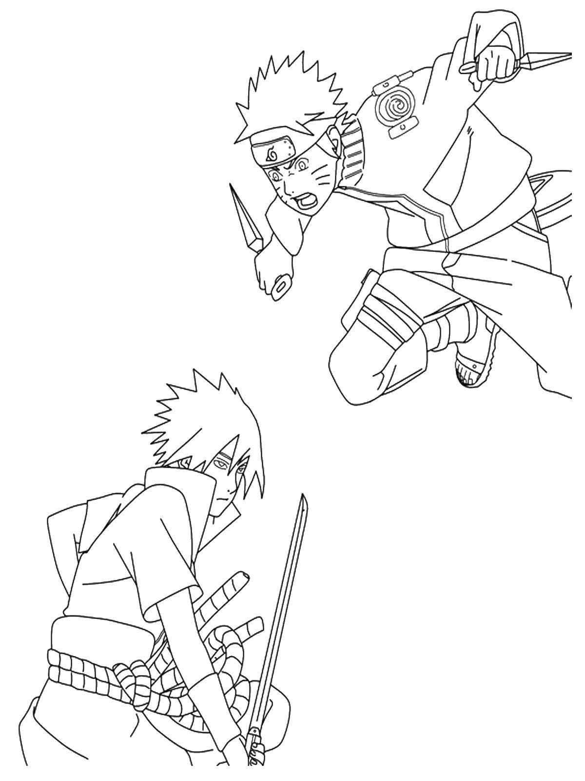 Раскраска Наруто сражается с саске. Скачать наруто, саске, аниме.  Распечатать ,Наруто,