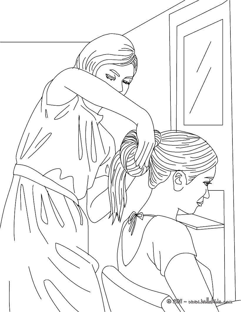 Раскраска Парикмахер делает прическу. Скачать прически, парикмахерская, парикмахер.  Распечатать ,Прически,
