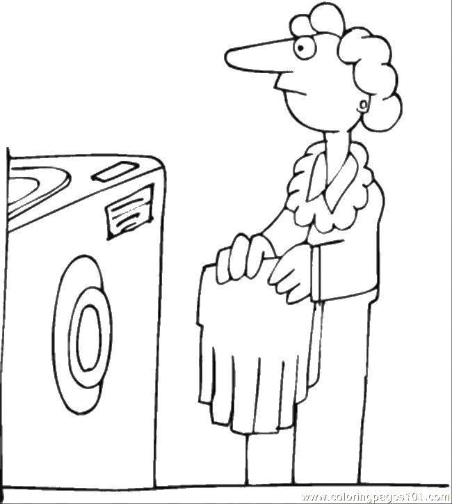 Раскраска Постираем одежду Скачать Уборка.  Распечатать ,Уборка,