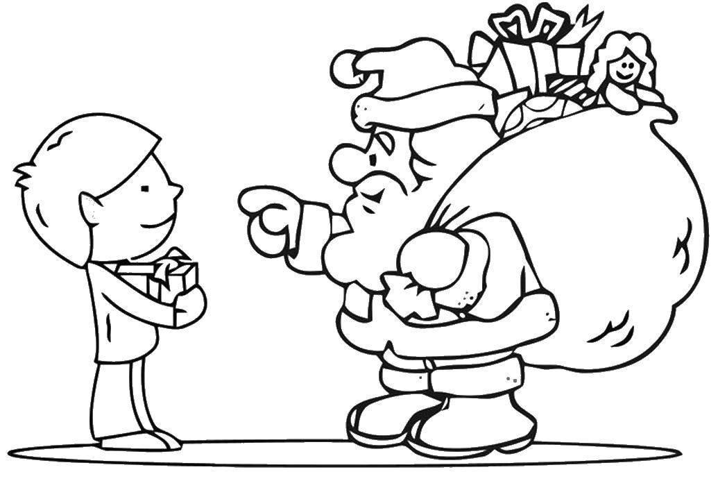 Раскраска Санта подарил подарочек Скачать Рождество, Санта Клаус.  Распечатать ,Рождество,