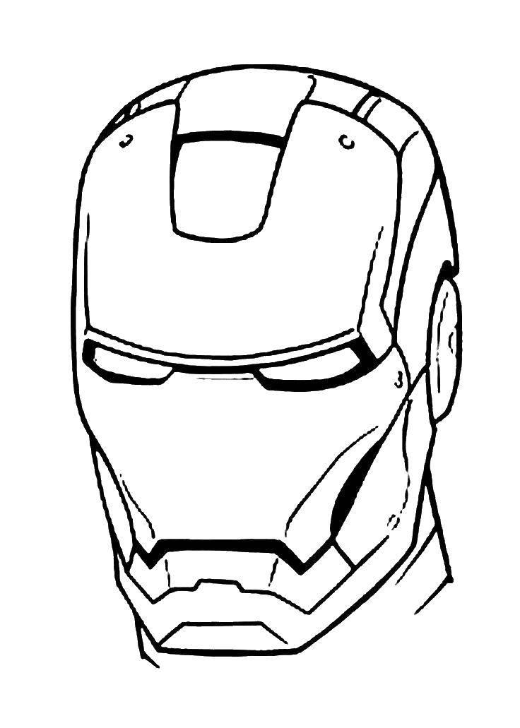 Раскраска Шлем железного человека Скачать Комиксы, Железный человек.  Распечатать ,Комиксы,