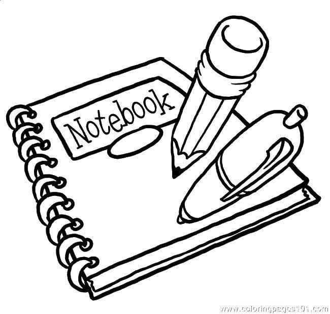 Раскраска Тетрадь и школьные принадлежности Скачать Школьные принадлежности.  Распечатать ,Школьные принадлежности,