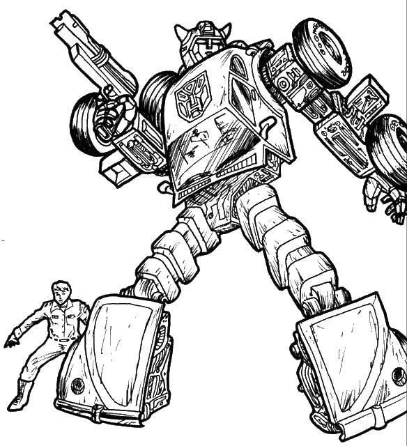 Раскраска Трансформер с бластером. Скачать трансформер, робот, бластер.  Распечатать ,трансформеры,