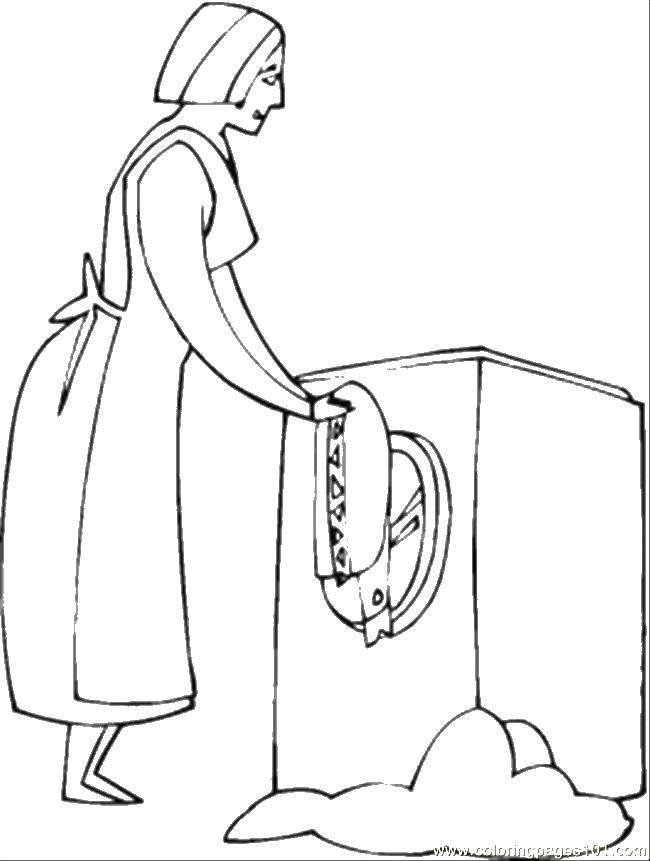 Раскраска Женщина стирает в стиральной машинке Скачать стирка, женщина, стиральная машинка.  Распечатать ,Стирка,