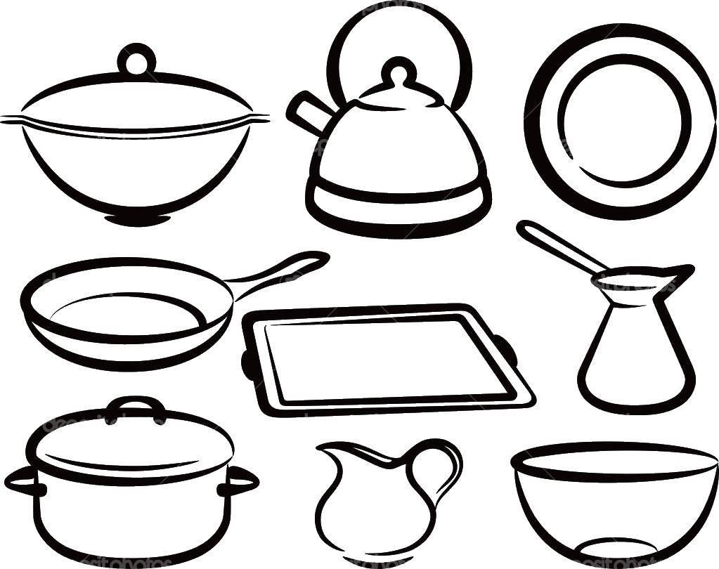 Раскраска кухня Скачать ,кухня, посуда,.  Распечатать