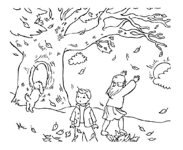 Раскраска Дети с собачкой под деревом Скачать осень, листопад, дети.  Распечатать ,Осенний листопад,