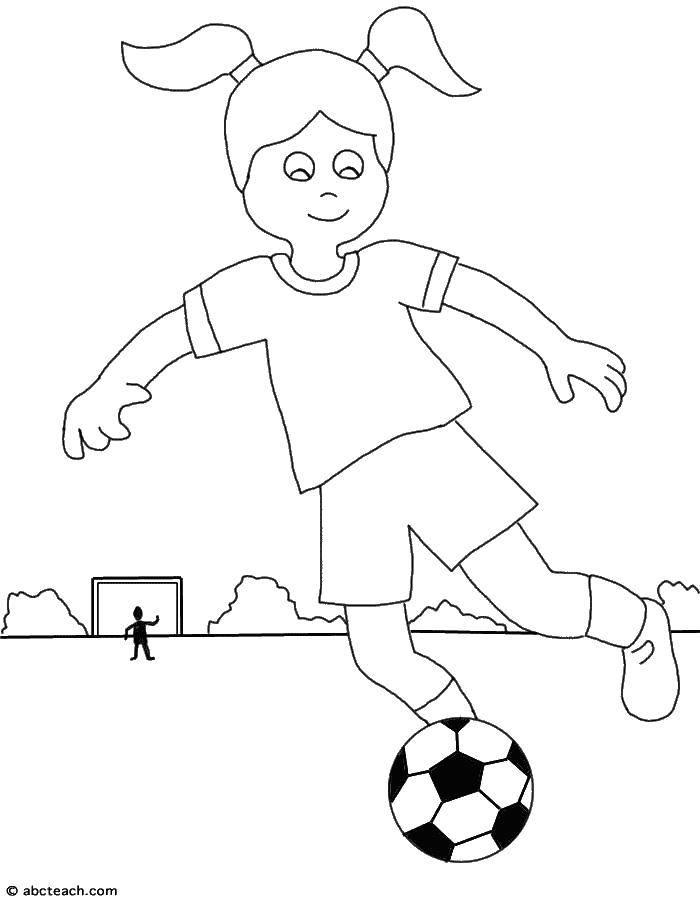 Раскраска Девочка играет в футбол Скачать Спорт, баскетбол, мяч, игра.  Распечатать ,Футбол,