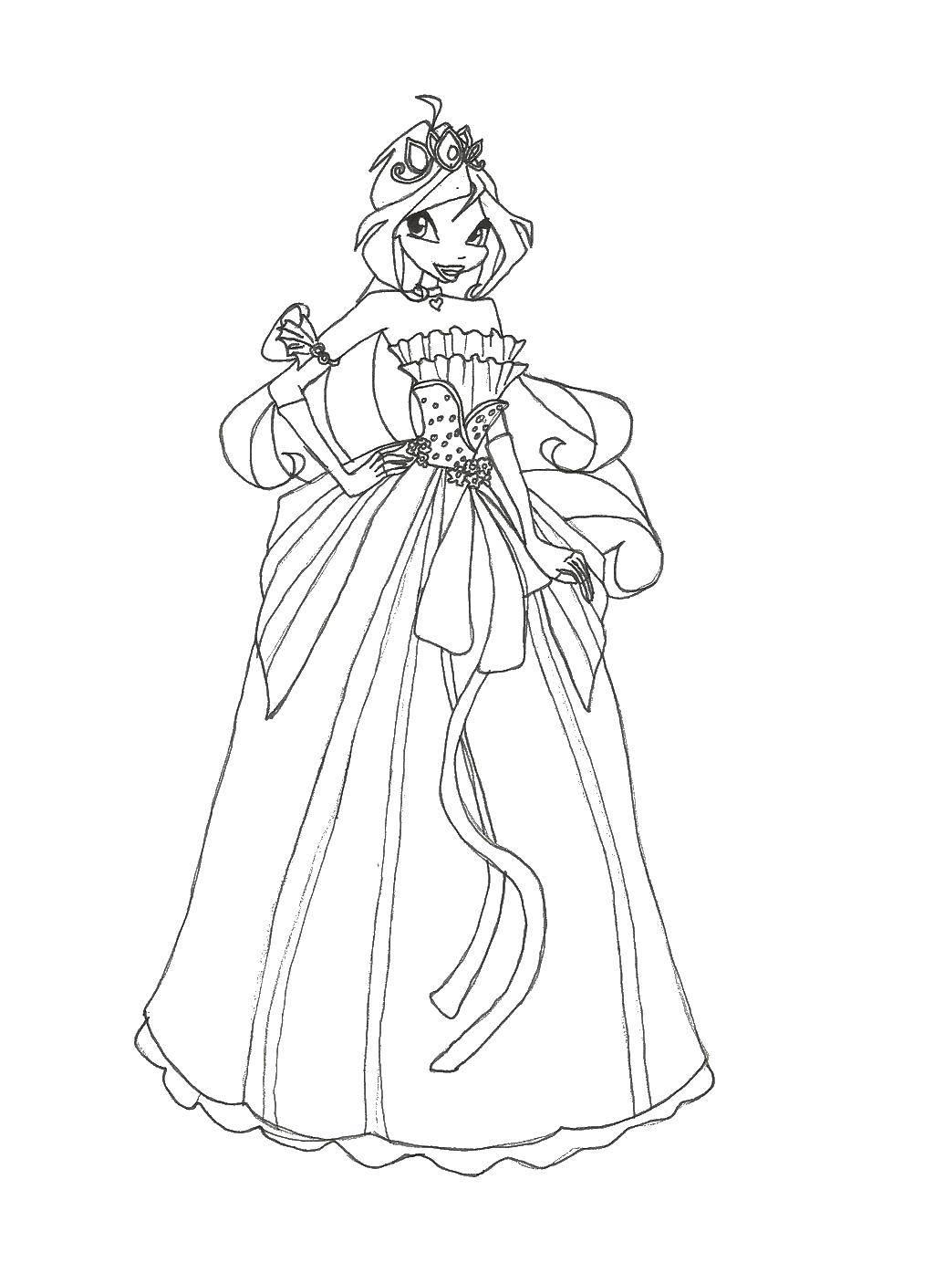 Раскраска Фея в бальном платье Скачать винкс клуб, феи, винкс.  Распечатать ,Винкс клуб,
