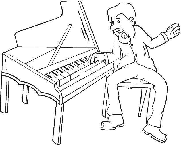 Раскраска Игрок на пианино Скачать Музыка, инструмент, музыкант, ноты.  Распечатать ,Пианино,