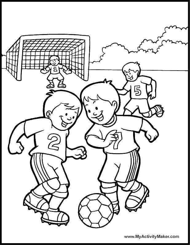 Раскраска Игры во дворе Скачать Спорт, футбол, мяч, игра.  Распечатать ,Футбол,