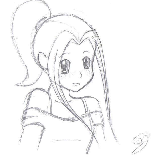 Раскраска Красивая девочка Скачать аниме, рисунки, девочка.  Распечатать ,аниме,
