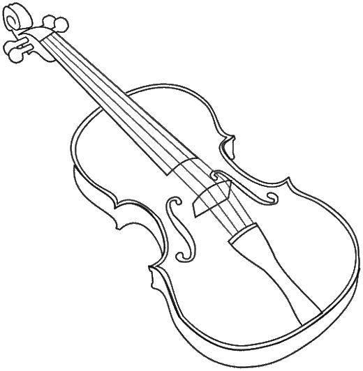 Раскраска Музыкальный инструмент скрипка Скачать музыкальные инструменты, скрипка.  Распечатать ,Скрипка,