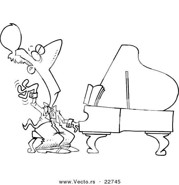 Раскраска Музыкант играет на пианино Скачать музыкант, пианино, музыка.  Распечатать ,Пианино,