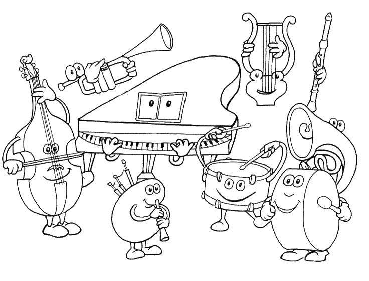 Раскраска Оркестр интсрументов Скачать Музыка, инструмент, музыкант, ноты.  Распечатать ,Музыкальный инструмент,