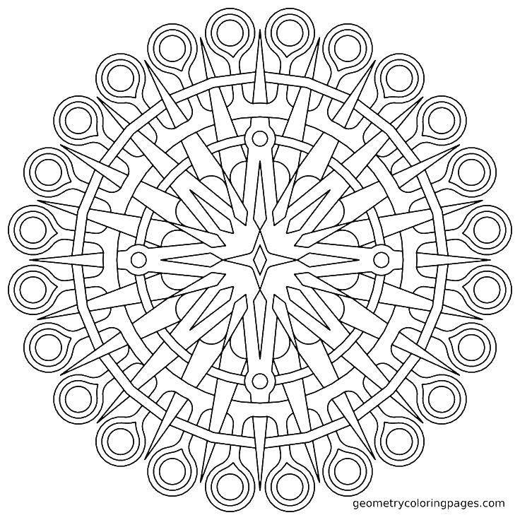 Раскраска Острые и гладкие узоры Скачать ,Узоры, геометрические,.  Распечатать
