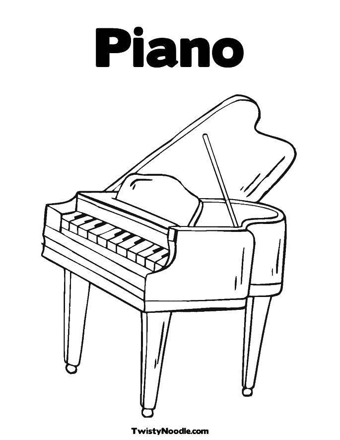 Раскраска Пианино Скачать пианино, музыка, клавиши.  Распечатать ,Пианино,
