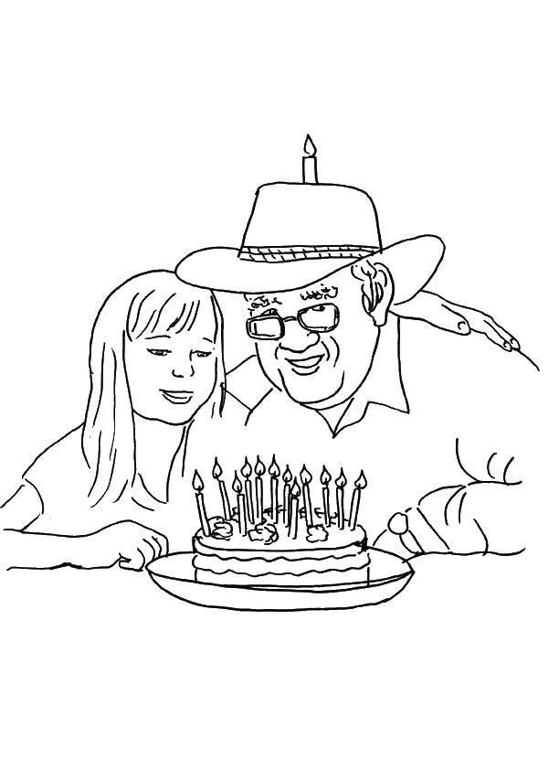 Раскраска Поздравляем папочку Скачать Поздравление, День Рождения.  Распечатать ,поздравление,