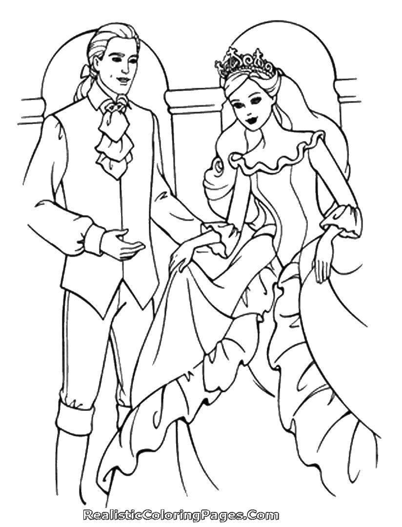 Раскраска Принц с принцессой. Скачать принцесса, принц, любовь, сказка.  Распечатать ,принцесса,