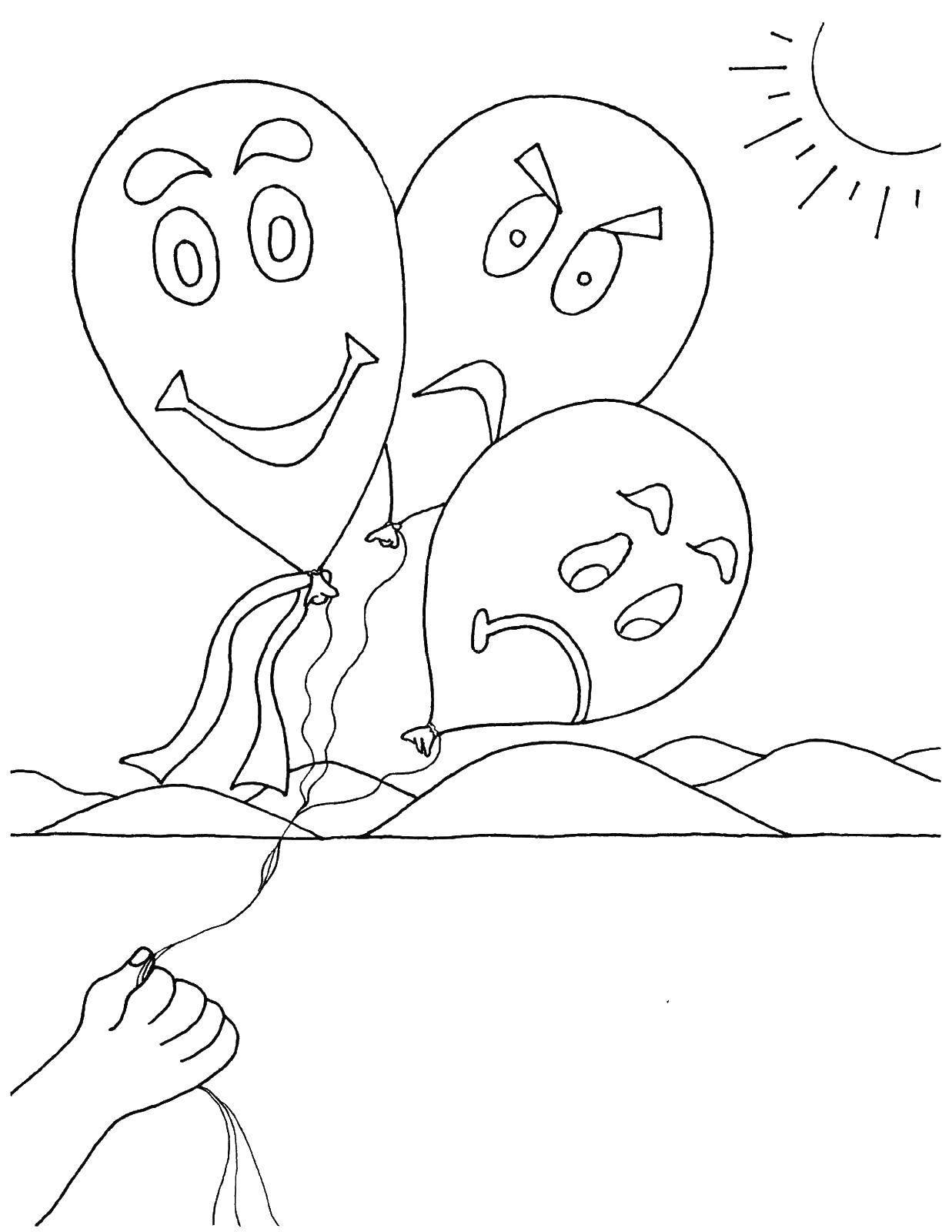 Раскраска Шарики с эмоциями Скачать шарики, эмоции.  Распечатать ,Эмоции,