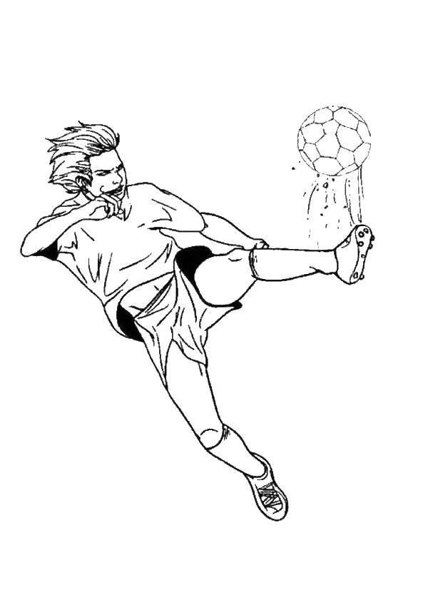 Раскраска Сильный удар по мячу Скачать Спорт, футбол, мяч, игра.  Распечатать ,Футбол,