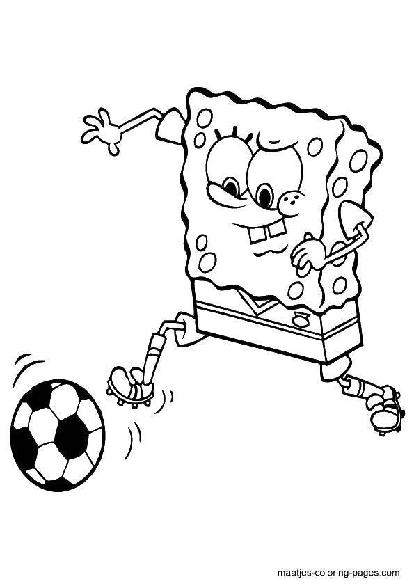 Раскраска Спанч боб играет в футбол Скачать футбол, спорт, Спанч Боб, мультфильмы.  Распечатать ,Футбол,